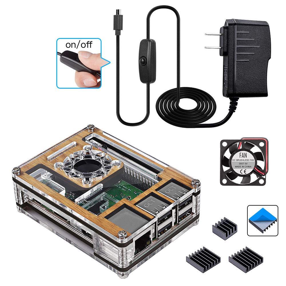 Smraza Raspberry Pi 3 B+ Wood Case with Fan + Heatsinks + 2.5A Power Supply + Micro USB Cord w/On Off Switch for Pi 3B Plus, 3 Model B, 2B SW29-NF