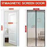 Magnetic Screen Door with Heavy Duty Mesh Curtain and Full Frame Velcro Fits Door Size MAX to 36-83- Black