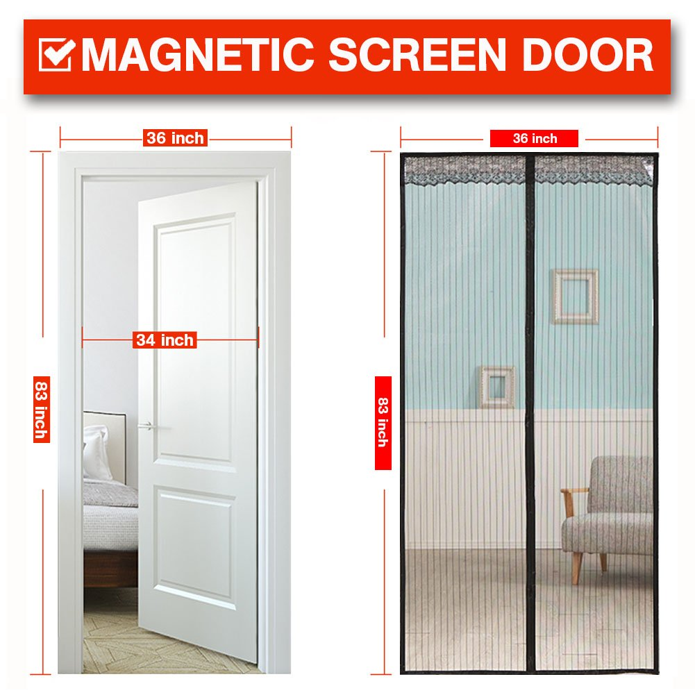 Magnetic Screen Door 36x83 Inch With Heavy Duty Mesh Curtain And