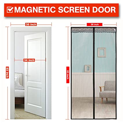 Magnetic Screen Door 36x83 inch,with Heavy Duty Mesh Curtain and Full Frame  Velcro Fits Door Size 34Wx82H inch with Full Frame Velcro Front Door ...