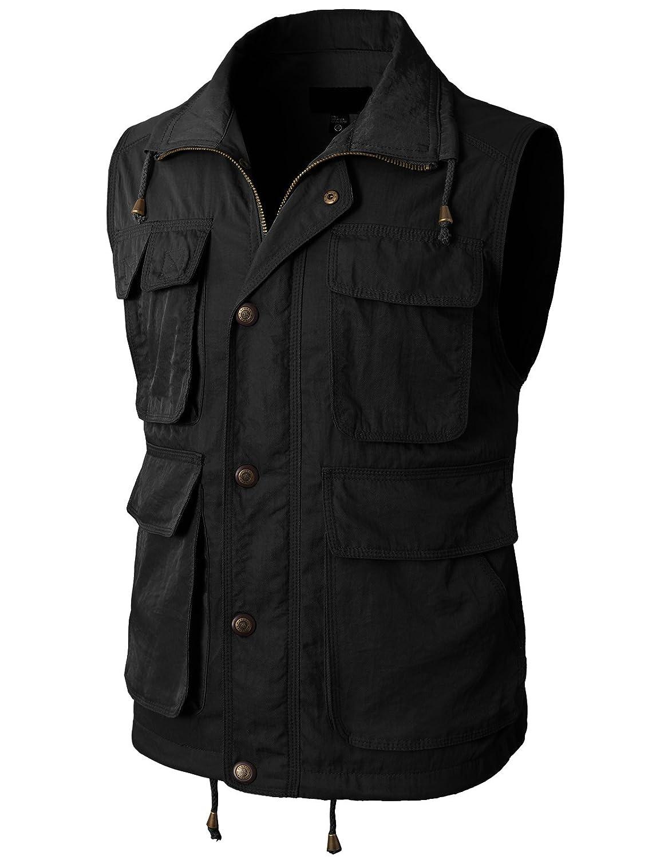 h2hメンズファッションWorkユーティリティハンティングTravelsスポーツベストに複数のポケット KMOV0117-BLACK M  B01DU21FFS