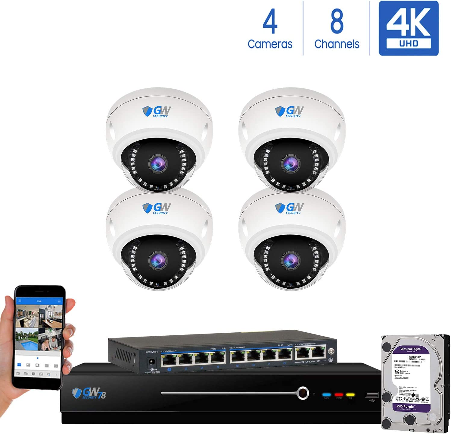 8 Channel 4K NVR 8 Megapixel H.265 4K Security Camera System, 4 Built-in Microphone Audio Recording HD 2160P 4K IP PoE Dome Cameras, QR-Code Connection