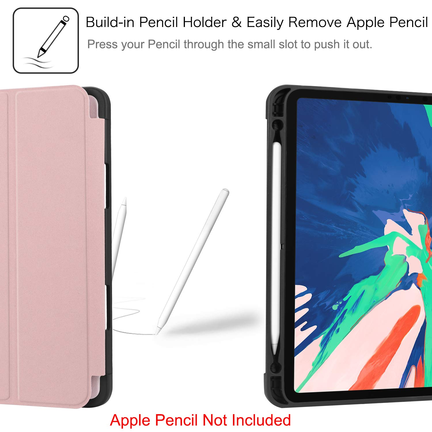 Auto Wake//Sleep - SlimShell Lightweight Soft TPU Back Protective Stand Cover FINTIE Case with Built-in Pencil Holder for iPad Pro 11 2018 Black Supports Pencil 2nd Gen Charging Mode