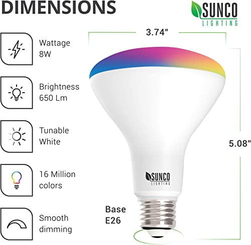 Sunco Lighting 2 Pack WiFi LED Smart Bulb, BR30, 8W, Color Changing RGB CCT , Dimmable, 650 LM, Compatible with Amazon Alexa Google Assistant – No Hub Required