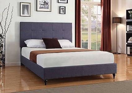 blue platform bed modern furniture home life cloth charcoal blue linen 47quot tall headboard platform bed with slats full amazoncom 47
