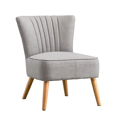 Wondrous Ayla Linen Retro Occasional Bedroom Lounge Fabric Accent Chair Grey Pabps2019 Chair Design Images Pabps2019Com