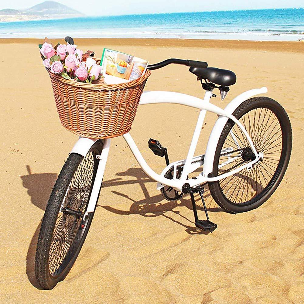 YOUNICER Cesta de Bicicleta de Mimbre con Manillar Delantero Retro de Moda Cesta de Bicicleta de rat/án Impermeable con Correas de Cuero