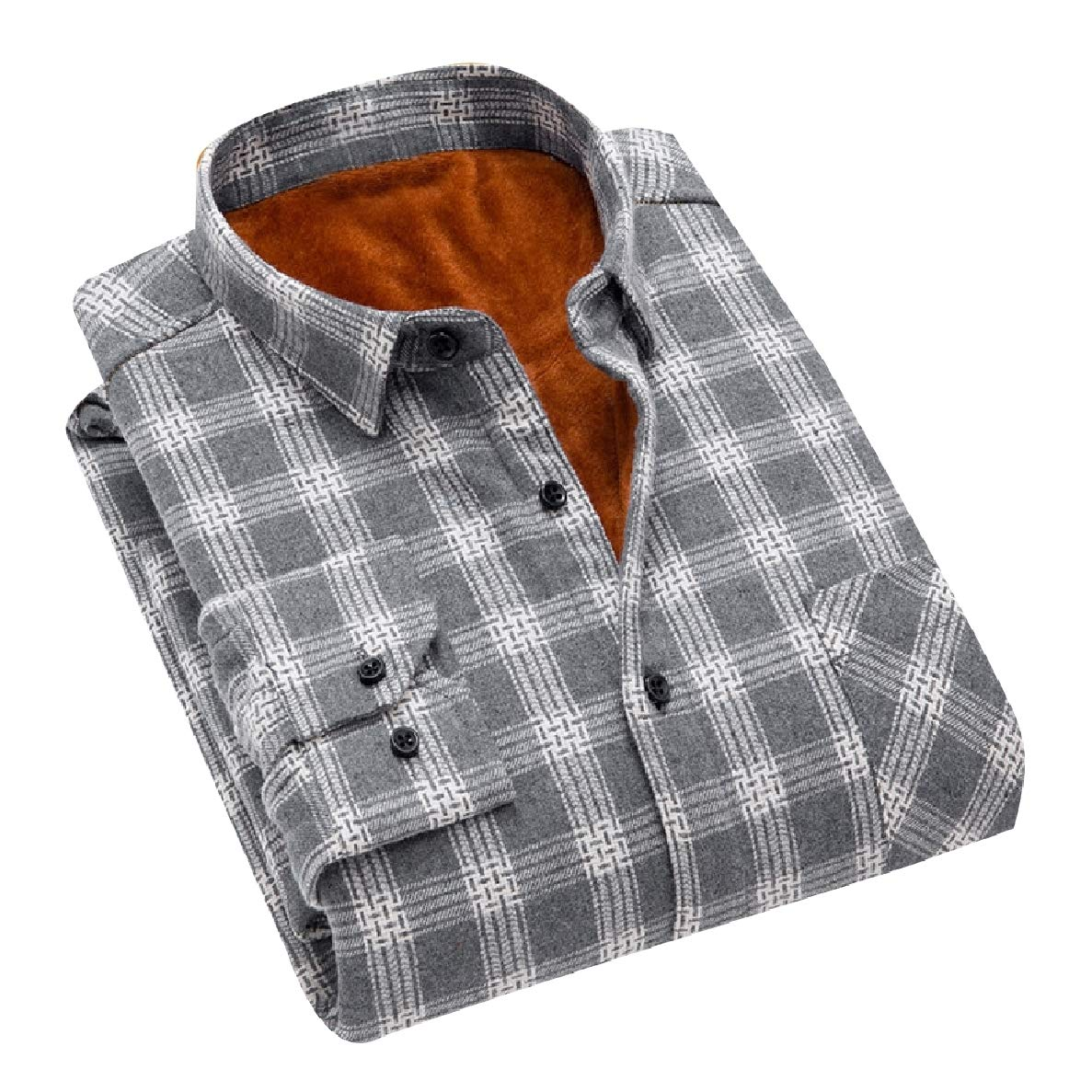 Winwinus Mens Warm Single-Breasted Suede Thickening Plaid Polo Shirt