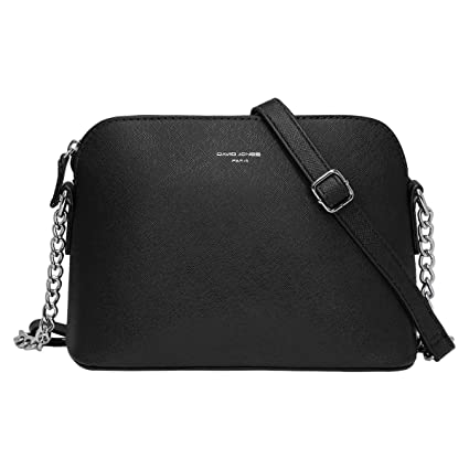 caea2369bbc4 David Jones - Women s Small Chain Crossbody Bag - Mini Shoulder Messenger  Bag PU Leather Rigid