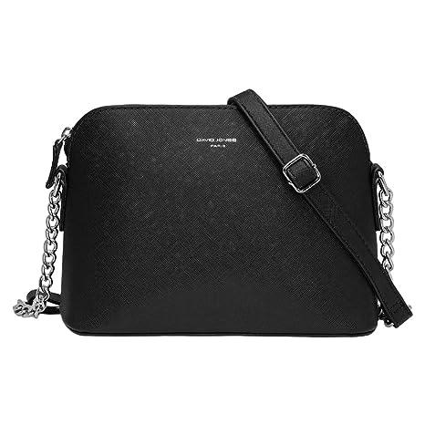 0bcb0663bc2d6 David Jones - Women s Small Chain Crossbody Bag - Mini Shoulder Messenger  Bag PU Leather Rigid