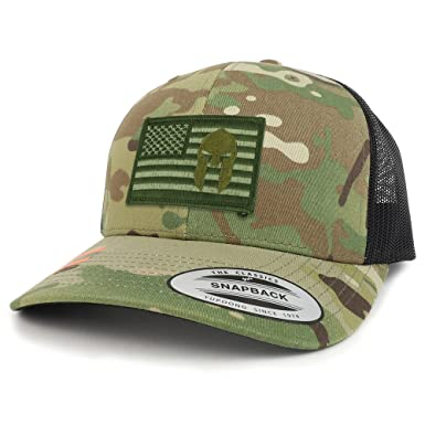 Armycrew Olive USA Flag Spartan Patch Camouflage Structured Trucker Mesh  Baseball Cap - Multicam 9004b6b5e4e