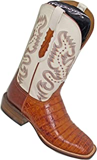 product image for Lucchese Men's Cognac Burnish Caiman Belly Boots CY1005.W8