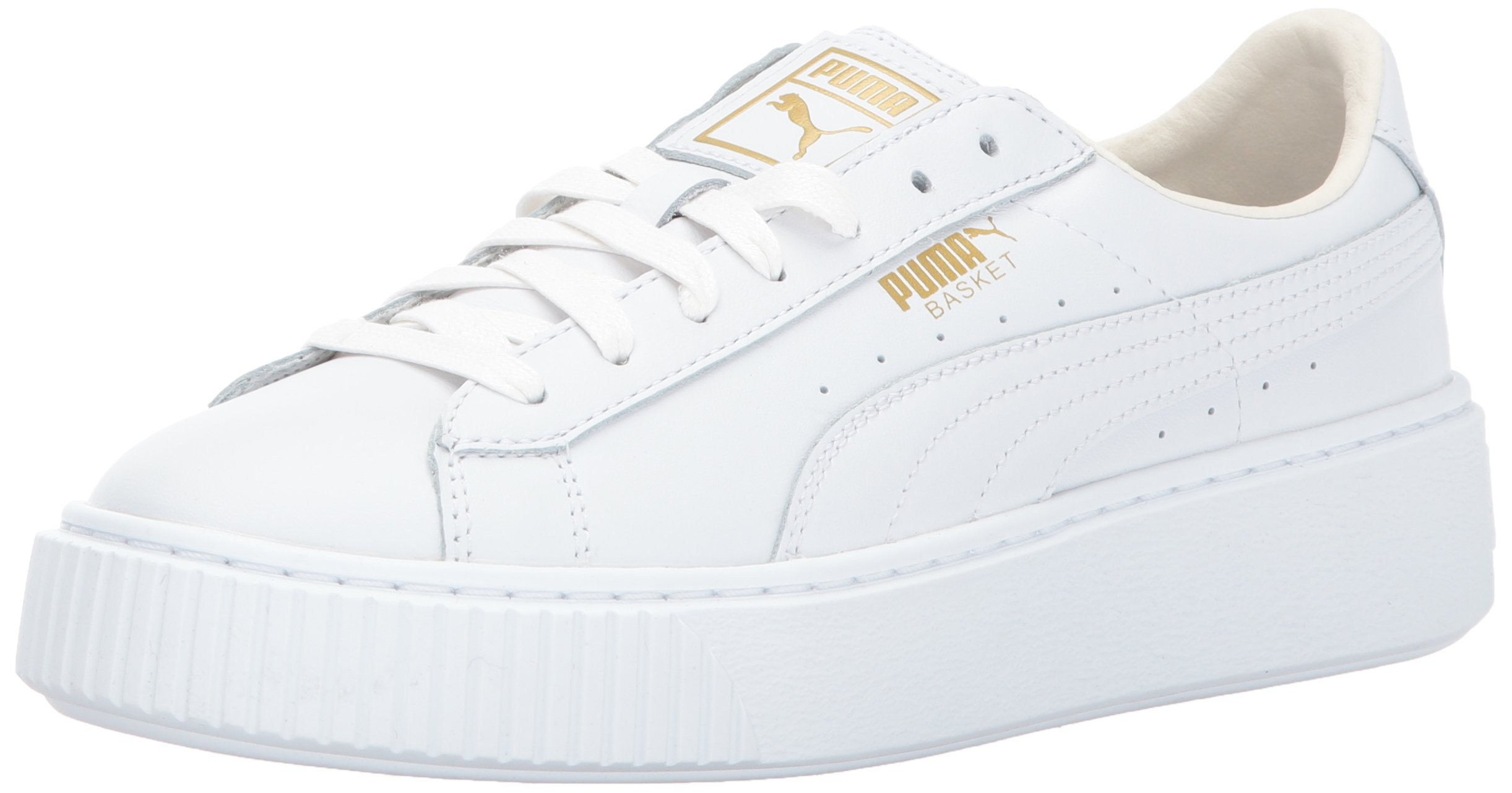 PUMA Women's Basket Platform Core Sneaker, White-Gold,7.5 M US