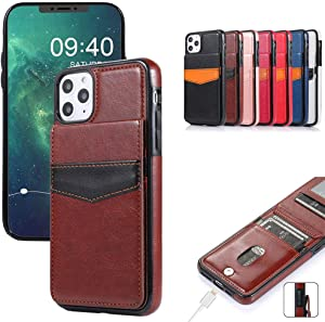iPhone X iPhone Xs Mobile Phone case Wallet, with Credit Card Holder, high-Grade Leather Protective Cover with Magnetic Buckle, Suitable for iPhone Xs/X 5.8 inches (Brown)
