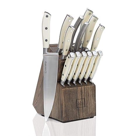 Amazon.com: Juego de cuchillos blancos con bloque, juego de ...