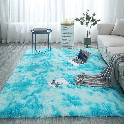 Motley Tie-dye Carpet Soft Fluffy Rug Shaggy Area Rugs Floor Mat Nursery Rug