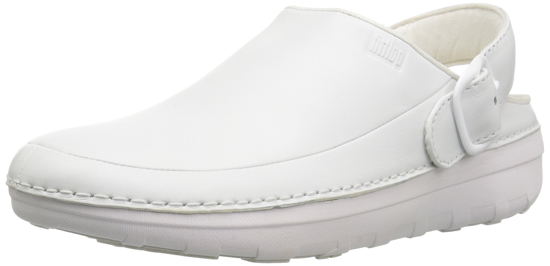 FitFlop Men's Gogh Pro in Leather Medical Professional Shoe, Urban White, 10 M US