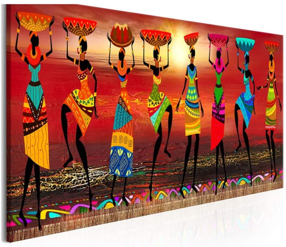 Pintura de Diamante 5D Grande Mujeres africanas bailando 40x100cm Diamante cuadrado Completo DIY Diamond Painting Kits Crystal Full Drill Punto de Cruz Sala Hogar Decor