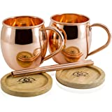 Moscow Mule Copper Mugs Set of 2 by Copper Mules – Handcrafted - Classic Riveted Handles – Holds 16oz