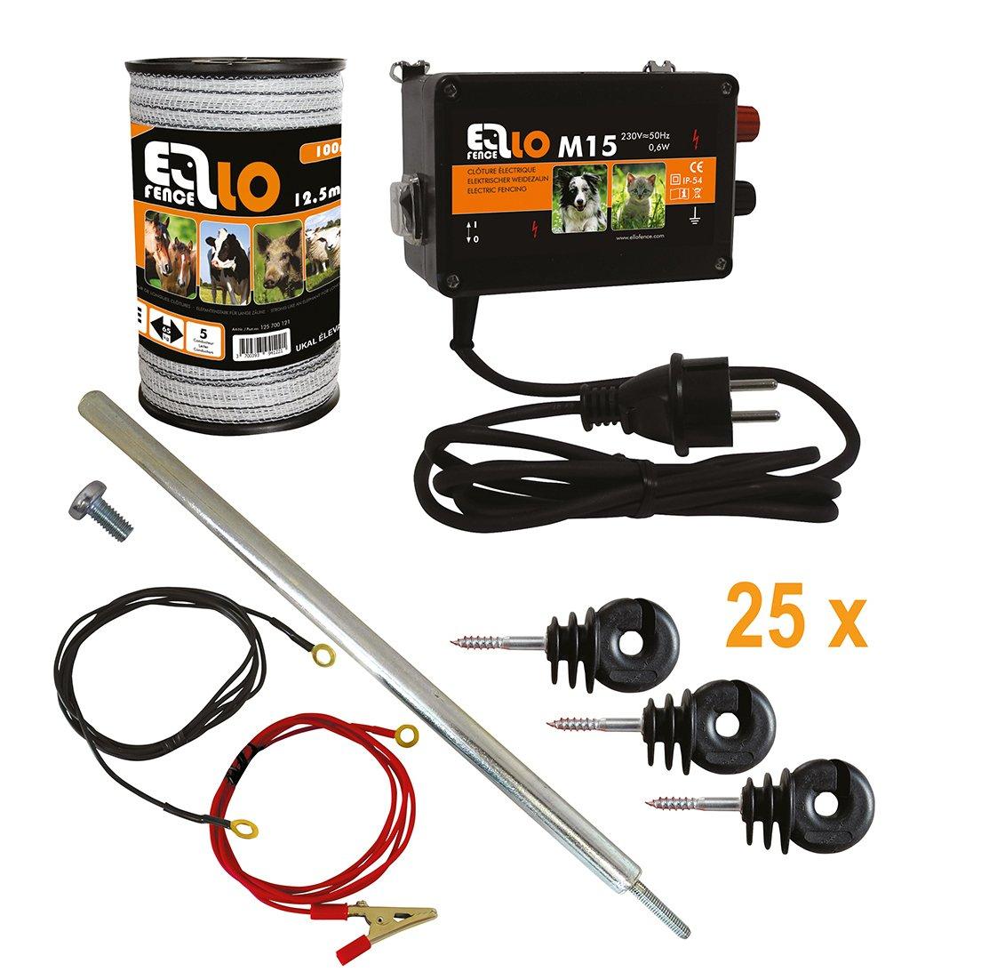 Hobby Set Starter de clôture ellofence pour clôture électrique–complet avec ruban, 12,5mm Clôture, erdpfahl et isolateurs–extrêmement silencieux Appareil. 230V Ellofence GmbH & Co. KG