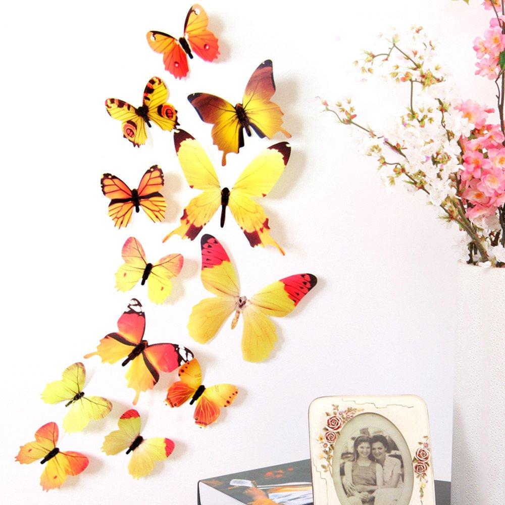 iumei 12pcs Wall Stickers 3D Wallpaper DIY Wall Stickers Wall Home Decor Home Decorations 3D Butterfly Rainbow (Yellow)