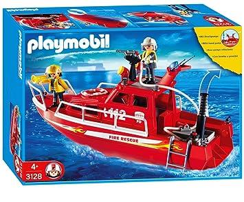playmobil 3128 pompiers pompiers sauveteurs bateau - Playmobil Pompier