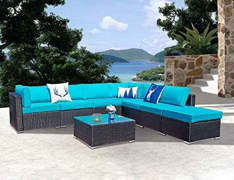 Amazon.com: 8 Piece Outdoor Wicker Patio Furniture Set, All ...