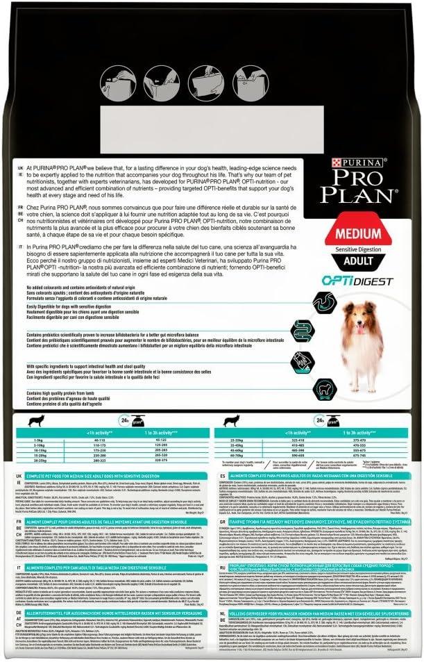 Purina Pro Plan Comida Seco para Perro Adulto Mediano con Digestión Sensible con Optidigest, Sabor Cordero - 3 Kg