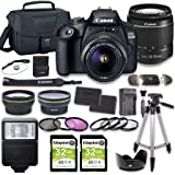 Canon EOS 2000D (Rebel T7) DSLR Camera Bundle with 18-55mm Lens + 2pc Kingston 32GB Memory Cards + Accessory Kit
