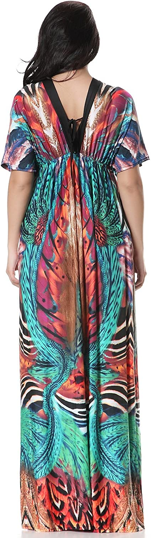 fashciaga Womens V-Neck Bat Sleeve Collect Waist Loose Dress