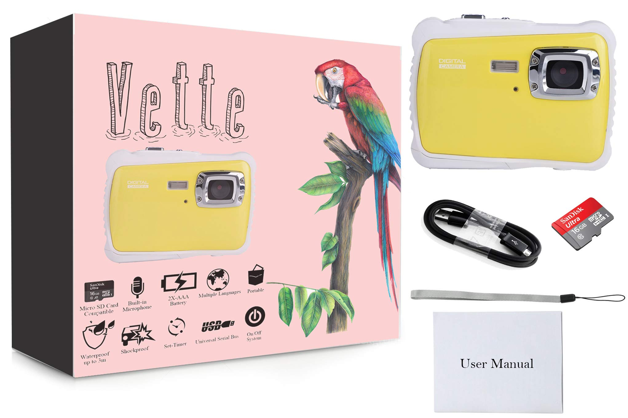 Vetté Digital Camera for Kids with 16GB MicroSD Card Included - Kids Camera Waterproof - 4X Zoom, up to 12MP, 720 HD Underwater Video Quality, TFT LCD Screen for Kids (Yellow) by Vetté (Image #6)