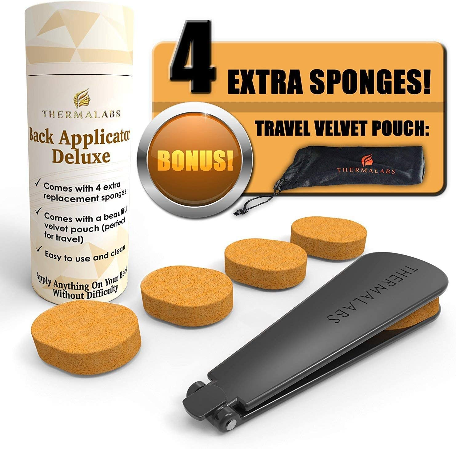 Amazon Com Back Applicator Deluxe Apply Lotion Or Medicine By Yourself On Unreachable Parts Of Your Body Folding Application Tool Set With Long Reach Handle Stick Comes With 5 Sponges And A Prestigious