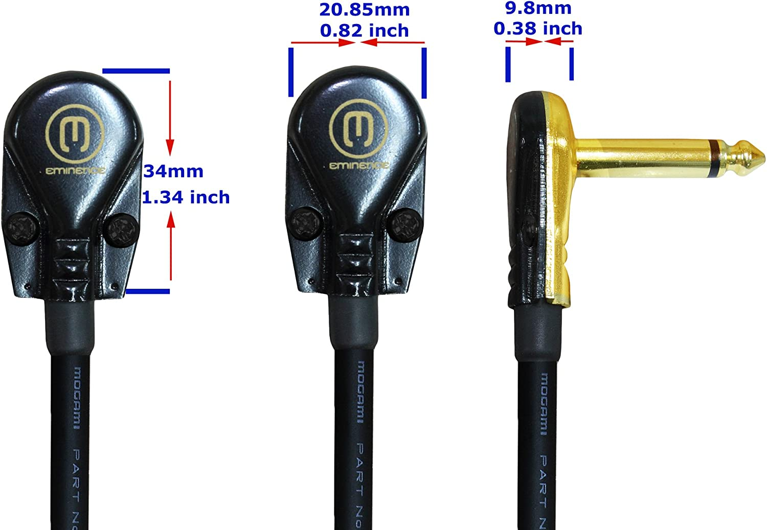 Instrument Cable Custom Made Made Using Mogami 2524 Wire and Eminence Gold Plated /¼ inch 3 Foot Pedal Patch R//A Pancake Type Connectors Effects 6.35mm WORLDS BEST CABLES 5 Units