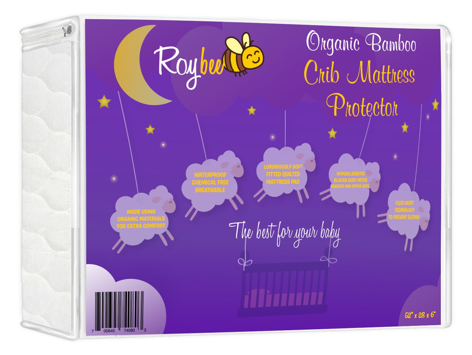 Roybee Crib Mattress Protector - Organic All Natural Hypoallergenic Bamboo Fitted Crib Mattress Cover - Waterproof, Soft, Breathable 1