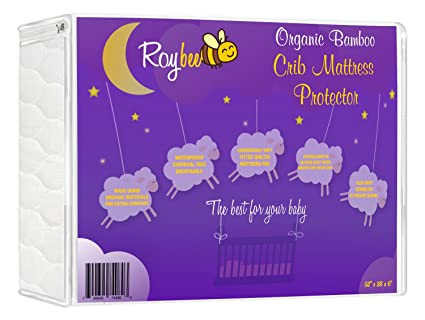 Roybee Organic Bamboo Waterproof Toddler and Baby Mattress Crib Protector Cover