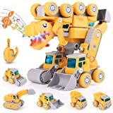 FANURY Dinosaur Toys for Kids 3-5, Kids Toys for 5 6 7 8 Year Old Boys, 5-in-1 Take Apart Construction Vehicles Transform Din