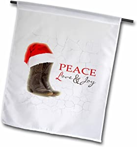 3dRose fl_172141_1 Rustic Cowboy Boots and Santa Hat Peace, Love and Joy Garden Flag, 12 by 18-Inch
