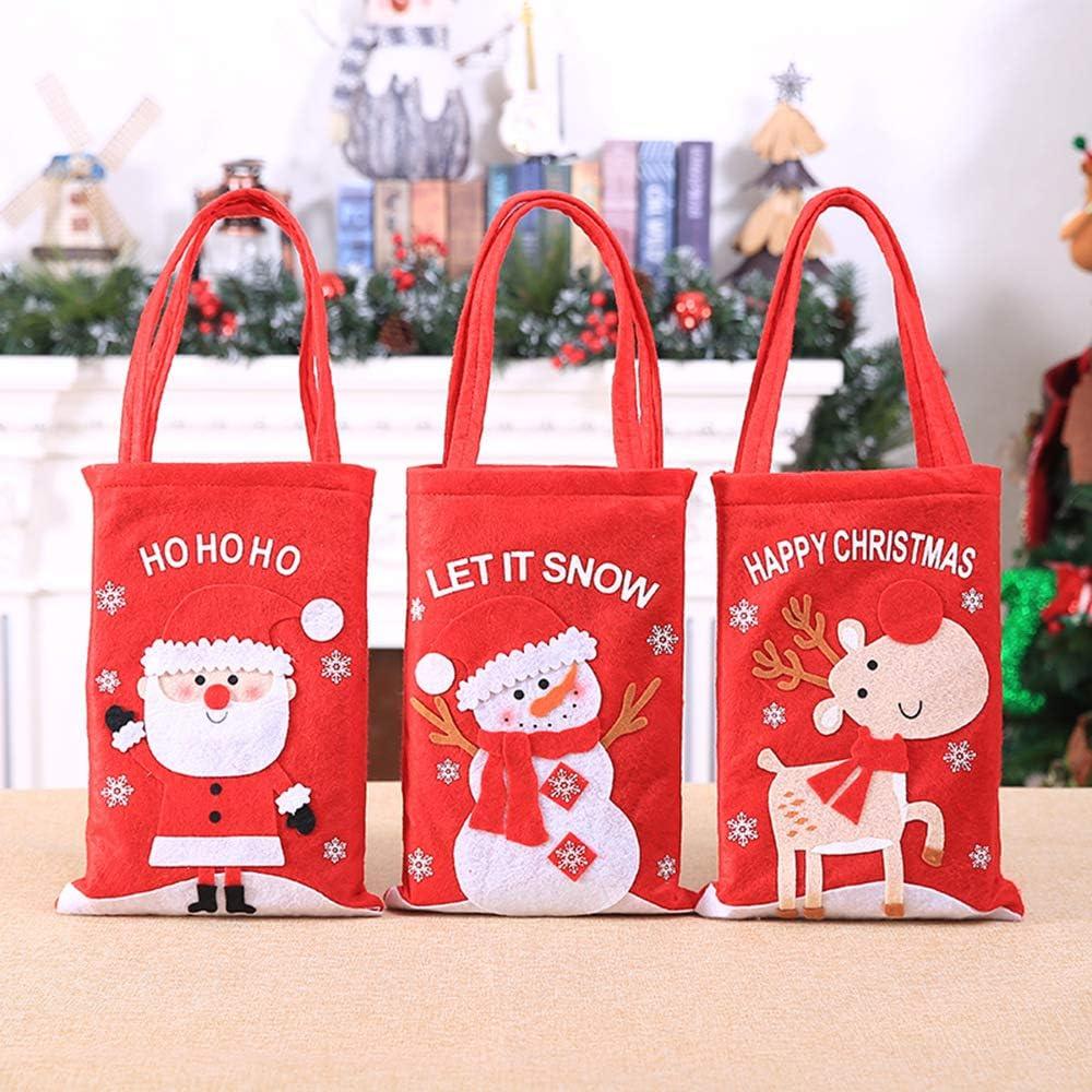 CXMASS 3Pcs Suministros de Navidad Decoración de Nochebuena Bolsa de Regalo de Dibujos Animados para niños Candy Apple Tote Bag