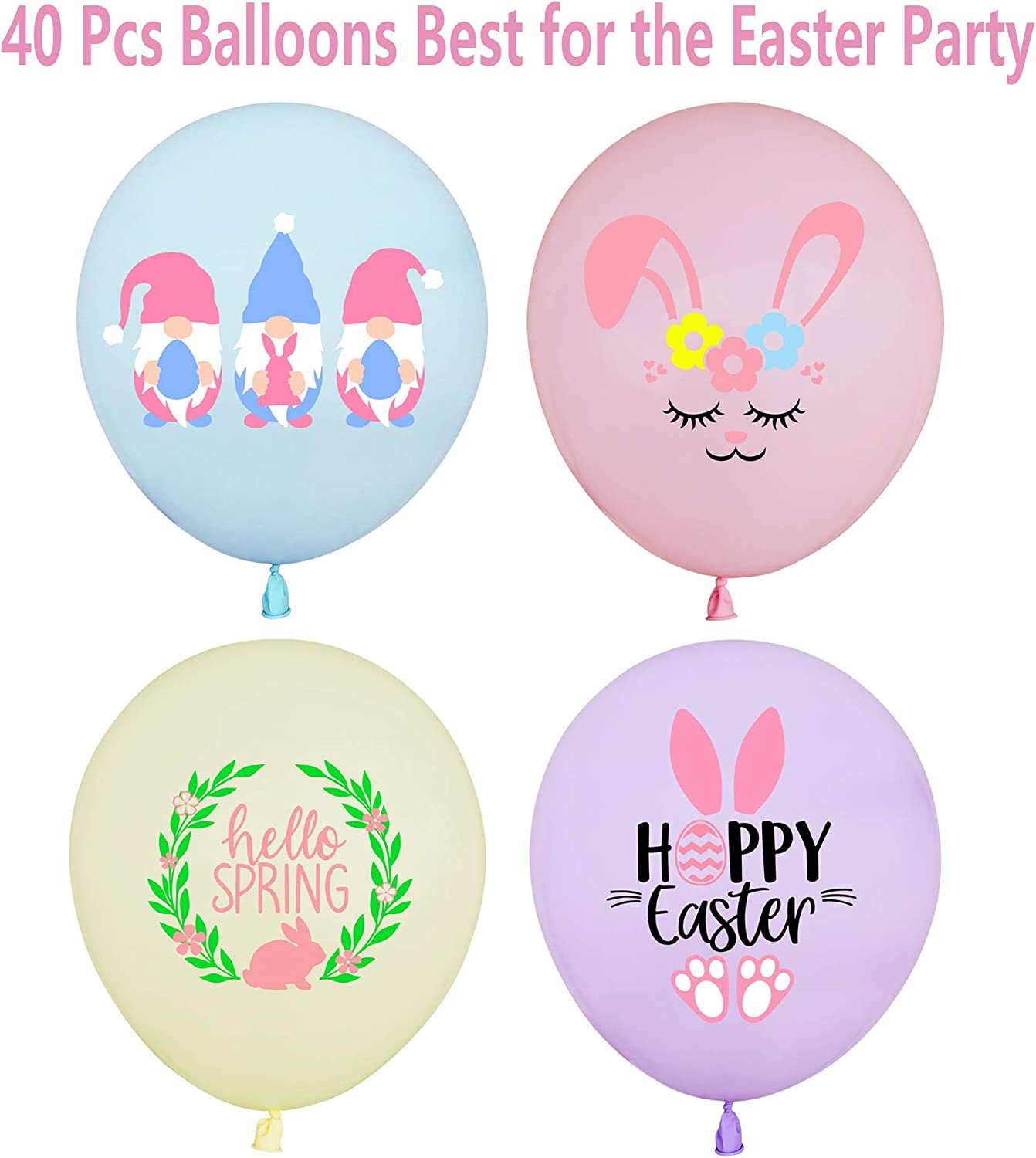 Spring Easter Birthday Party Decorations 40Pcs Easter Balloons Happy Easter Hello Spring Party Decorations Easter Party Supplies and Decorations Spring Bunny Gnome Balloons
