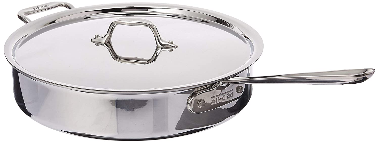 Renewed All-Clad 4405 Stainless Steel Tri-ply Saute Pan with Lid Cookware 5-Quart Silver