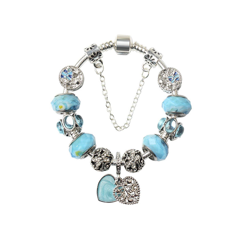 Flower-Bud Blue Love Pendant DIY Lady Beaded Bracelet European and American Crystal Fine Jewelry Handmade,19cm
