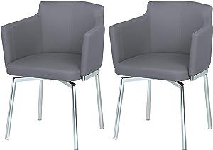 Milan Denise Club Style Swivel Arm Chair (Set of 2), Grey