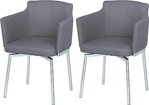 Milan Denise Club Style Swivel Arm Chair Set of 2