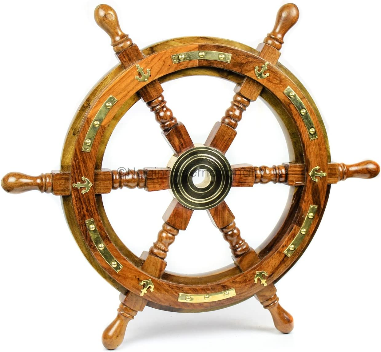 Nagina International Nautical Premium Sailor s Hand Crafted Brass Wooden Ship Wheel Luxury Gift Decor Boat Collectibles 16 Inches, Anchor Strip
