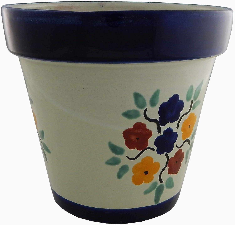 Mexican Talavera Planter Ceramic Flower Pot Folk Art Pottery Garden Handmade # 23