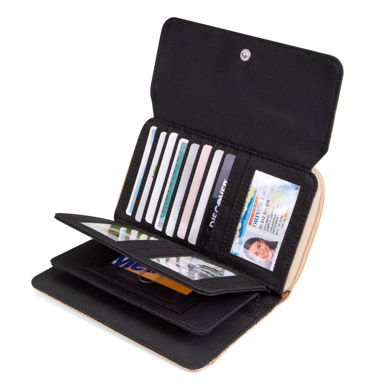 Mundi Big Fat Wallet Womens RFID Blocking Wallet Card Carrier Clutch Organizer (Gold (Glitter)) by Mundi (Image #2)