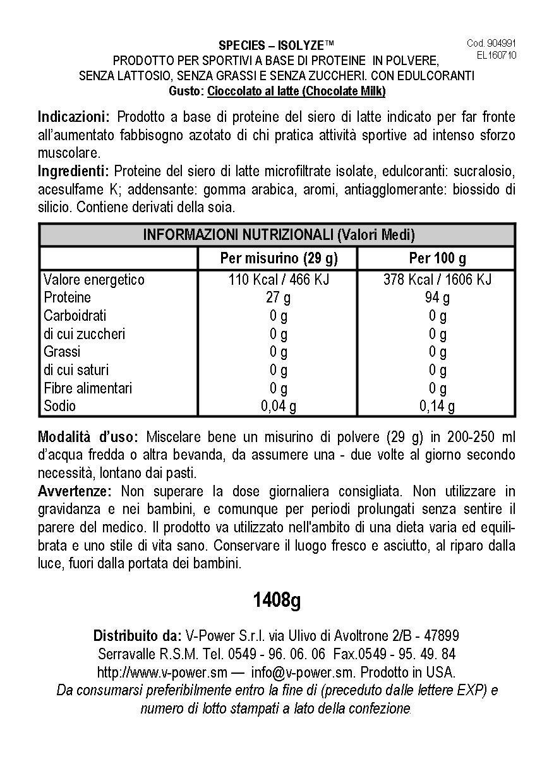 Species Nutrition Isolyze Chocolate Milk Supplement, 3.1 Pound