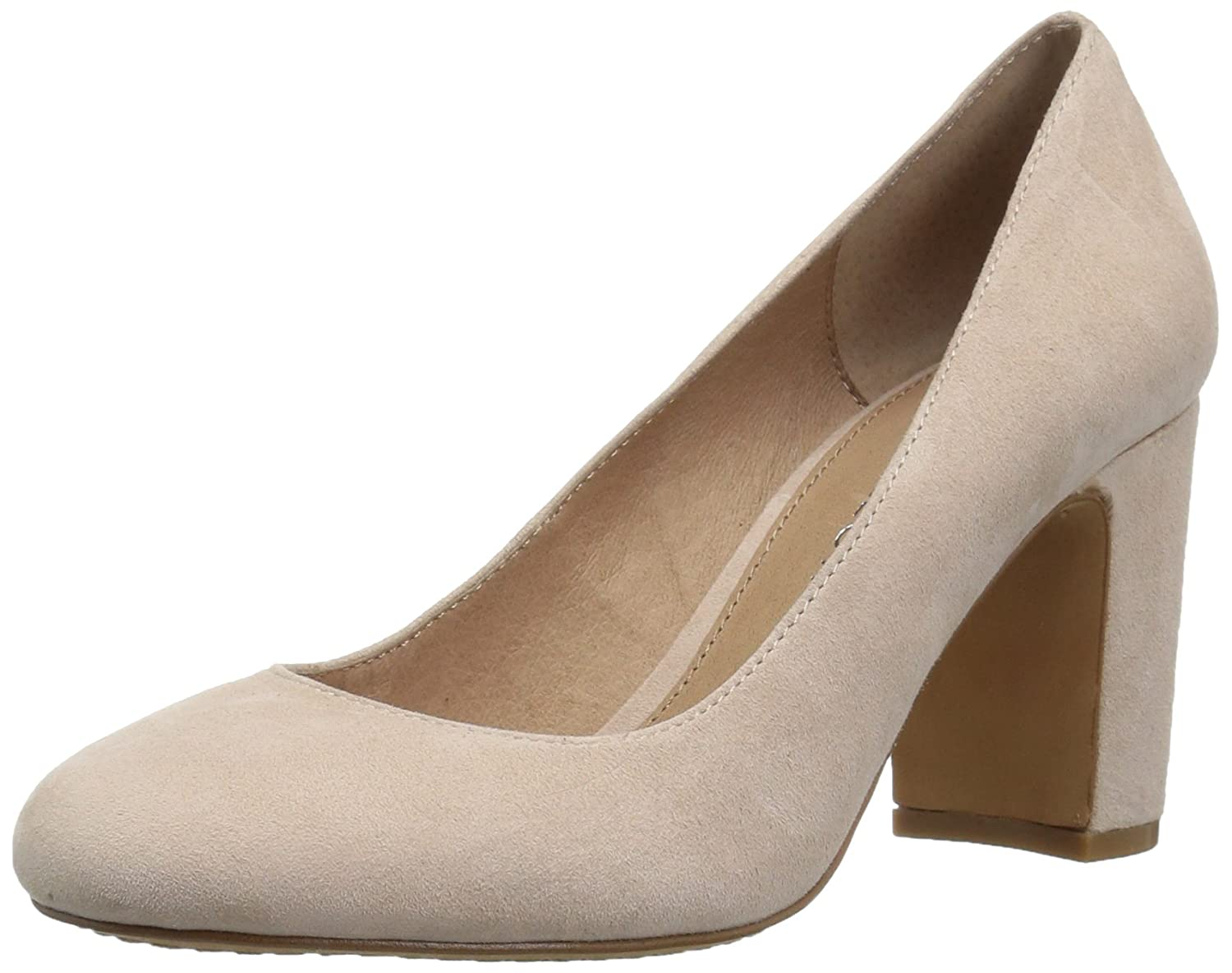 206 Collective Women's Coyle Round Toe Block Heel High Pump B0789631FN 6.5 C/D US|Blush Suede