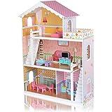 Baby Vivo Casa Delle Bambole Bambini Legno MDF Miniatura Mobili Accessori Piani Villa Barbie Rosa Gioco Mansion con 10 Pezzi - Violetta