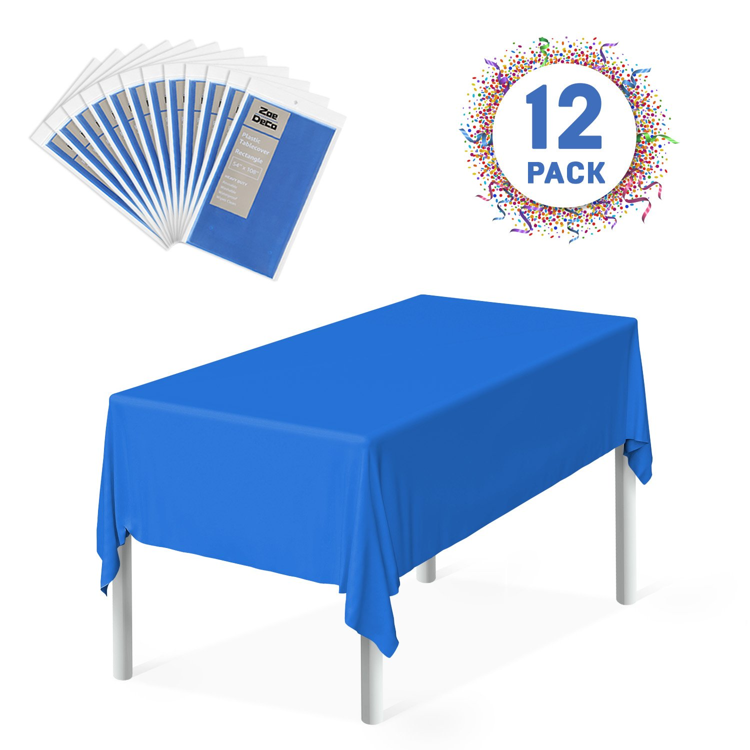 Zoe Deco Plastic Tablecloth, 54'' x 108'' Blue Tablecloth - 12 Pack - Rectangle Tablecloth for Parties, Graduations, and Picnics by Zoe Deco (Image #1)